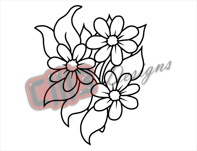 Flowers Bloom Outline Wall Art