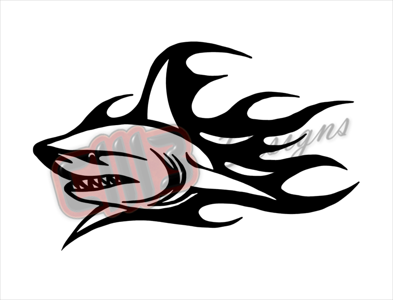 Fire Shark Wall Art DXF designs