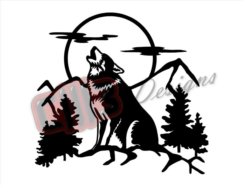 Wilderness Wolf Wall Art DXF designs