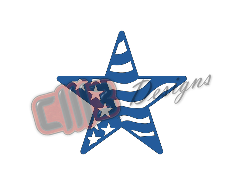 Shining American Flag Western Star Metal Wall Art