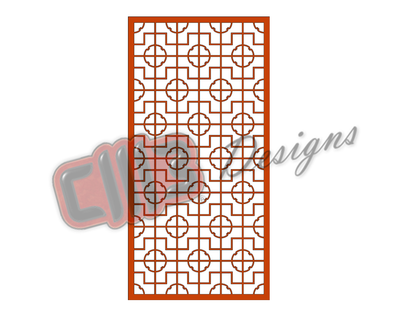 Room Divider Panel Screen with Chinese Fretwork 3 DXF designs